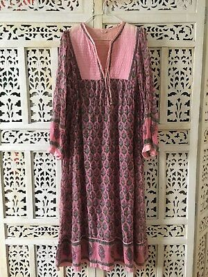 Vintage 1970's Boho Cotton Indian Gauze Dress Authentic Rare Festival Size M