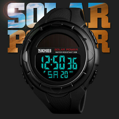 SKMEI Men's Solar Smart Watch Bluetooth Military Sports Wrist Watch Waterproof