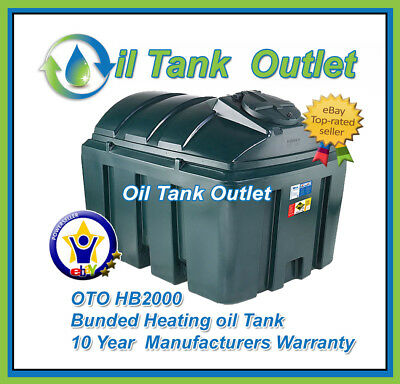 2000ltrs Horizontal Bunded - OTO Heating Oil Storage Tank ~ with Fitting Kit
