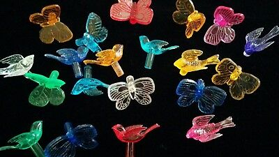 20 Bird & Butterfly Bulbs Ceramic Christmas Tree Replacement Lights Mixed Colors