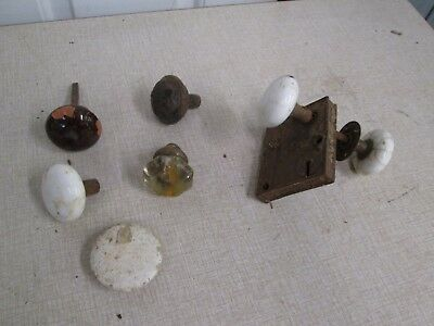 Antique Vintage Glass and Brass Architectural Salvage Door Knobs LOT OF ALL...