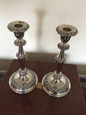 """Beautiful Pair Of Silver Plated Victorian Decorative Candlesticks 10.5"""" Tall"""