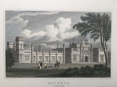 1830 Antique Print; Inchrye Abbey near Lindores, Fife, Scotland after Neale