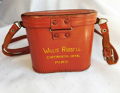 Vintage leather case for binoculars Willie Russell Continental Hotel Paris
