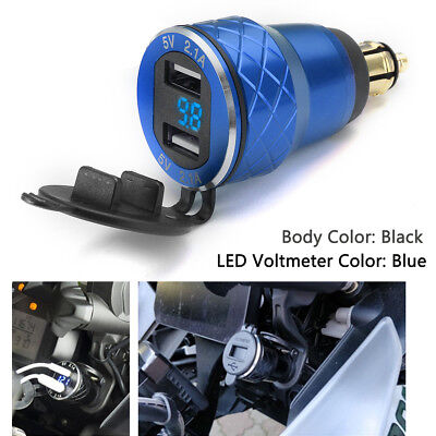 4.2A Blue LED Motorcycle Dual USB Charger Socket Voltmeter For BMW Motorbike