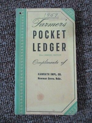 "1958-59 JOHN DEERE ""Farmer's Pocket Ledger"" ....Newman Grove, Nebraska"