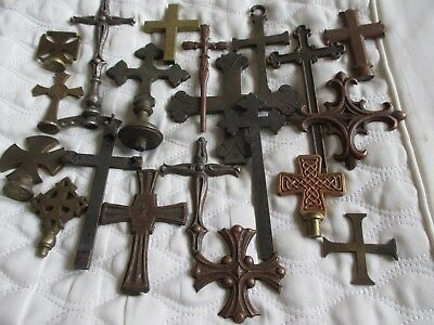 Selection of 20 Old Unusual Gothic Bronze Brass Metal Crosses - Crucifixes