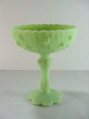 Fenton Art Glass: Candy Dish Compote - Lime Green Cabbage Rose Pattern