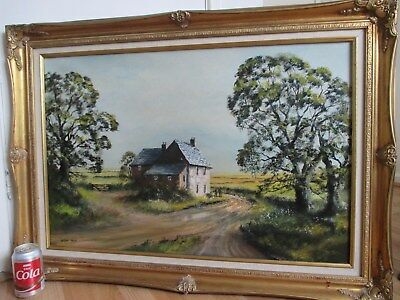 Large Impressionist Cottage Scene Oil Painting on Canvas Signed Digby Page
