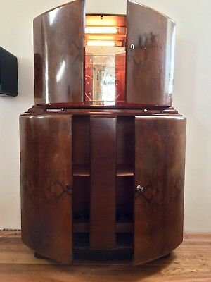 Art Deco Bow Fronted Walnut Cocktail/ Drinks Cabinet- George Serlin