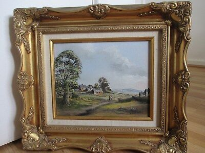 Fine Impressionist Cottage Scene Oil Painting in Gilt Frame Signed Digby Page