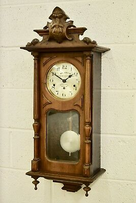ANTIQUE C.1930s KIENZLE THREE TRAIN WESTMINSTER CHIMING WOODEN WALL CLOCK