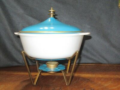 Vintage MCM 2 Quart Fire King Casserole W/Blue Metal Lid & Blue Warming Cradle