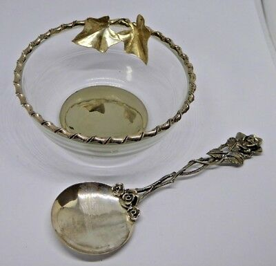 Vintage Silver Mounted and Glass Preserve / Jam Bowl with 800 Grade Silver Spoon