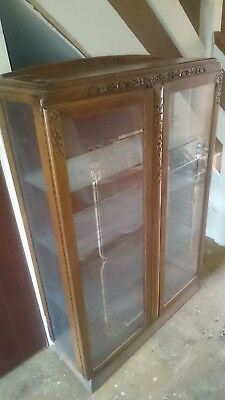 Antique 4 shelf glass & carved wood cabinet with silver pattern