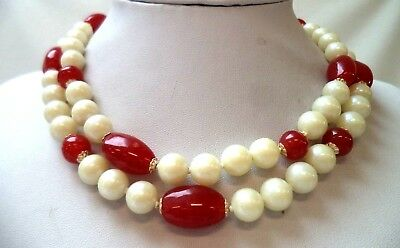 "Stunning Vintage Estate Faux Pearl Glass Beaded Red Flower 17"" Necklace!!! 1217N"