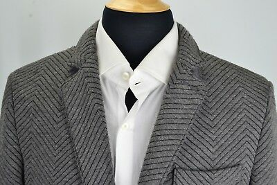 Armani Exchange Gray Jagged Herringbone Pattern Modern Sport Coat Jacket Sz M
