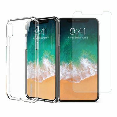 For iPhone 6 6S 7 8 Plus X Case Silicone Clear Gel TPU Rubber + Temperd Glass