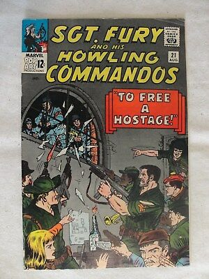 """1965 Marvel Comics Sgt Fury And His Howling Commandos """"To Free A Hostage"""" #21"""