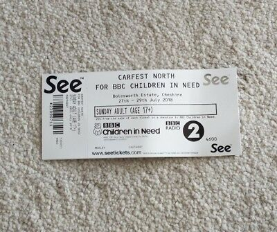 2 X Carfest NORTH Entry Tickets (Sunday)