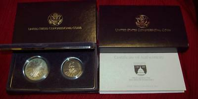 1989 S Congressional$1 Comm Proof Silver Dollar & Half Dollar Coins W/ Box & Coa