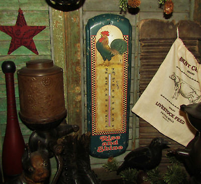 Primitive Antique Vtg Style Farm Barn Yard Rooster Chicken Thermometer Sign Tin