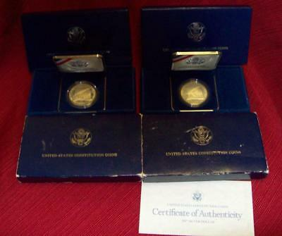 (2) 1987 S Proof United States Constitution Silver Dollar $1 Coins W Boxes & Coa