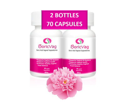 Boric Acid Suppositories Capsules | 70 Capsules | 600mg |With 2 Free Applicators