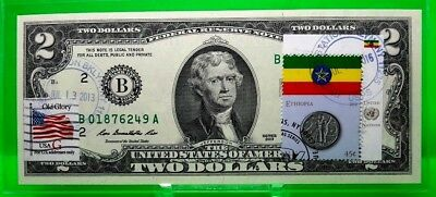 Money Us $2 Dollars 2013 Federal Reserve Note  Coin And Flag Ethiopia Gem Unc