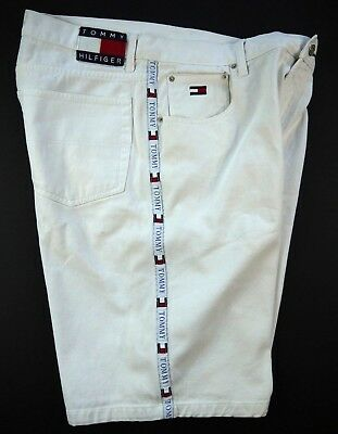 VINTAGE 90s TOMMY HILFIGER white jean SHORTS denim flag tag spell-out mens 38 w