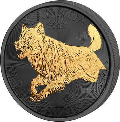 CANADIAN WOLF Golden Enigma 1 Oz Silver Coin 5$ Canada 2018