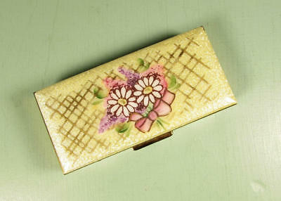 Vintage Wiesner Yellow Guilloche Enamel Flower Pill Box Compact