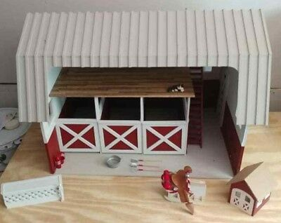 Vintage Handmade Doll House Red Barn with Tools, Cat, Saddle, small barn, etc.