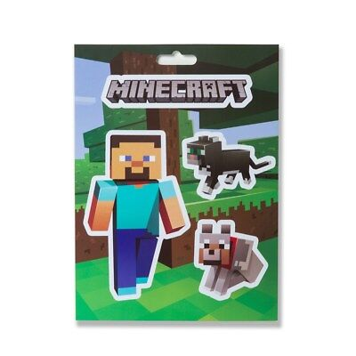 Authentic MINECRAFT Steve Pets 4 Sticker Pack NEW