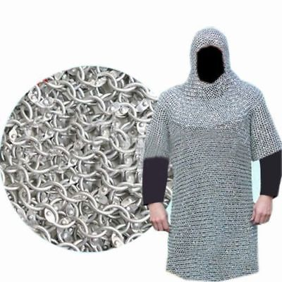 XXXL-ALUMINIUM-ROUND-RIVETED-CHAIN-MAIL-SHIRT-9mm-16G-MEDIEVAL-CHAINMAIL-COIF