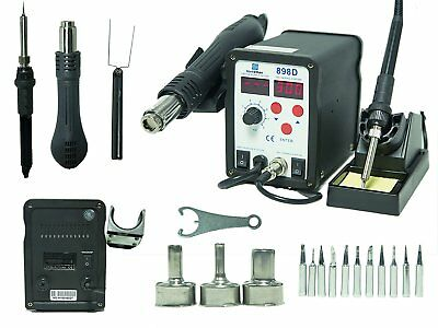 2-in-1 SMD Hot Air Rework Station & Soldering Iron w/ 11 Tips, 3 Nozzles LED NEW