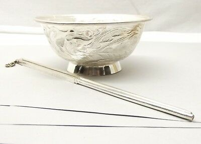 Solid Silver Rice Bowl Chopstick Set Dragon Phoenix Etched Japanese Chinese