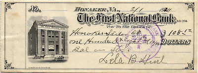 A Neat 1924 $108.12 Check - First National Bank, Honaker, Virginia  USED