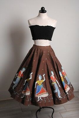 "Vintage Novelty print 18 panel full circle skirt of  MAMBO dancers, brown, 28""w"