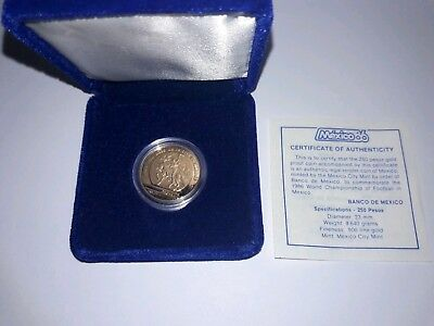 1985 Mexico 1/4 Oz Gold $250 Peso '86 World Cup Soccer Proof Coin! Gem Proof!!