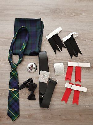 Scottish belt, buckle, broosh, gordon tie, flashes