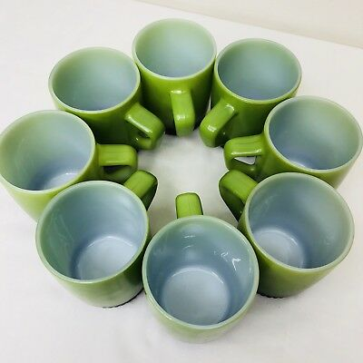Vintage Set Of 8 Fire King Jadeite Green D Handle Coffee Mugs Cups