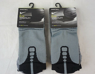 (2 Pairs) Nike Versatility Elite Crew Basketball Socks Black Size Medium SX5369