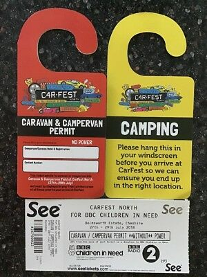 CarFest North Weekend Camping Rare Caravan/Campervan permit (without Power)