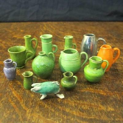 "12x EARLY 20thC MINIATURE RYE POTTERY ""DOLL's HOUSE"" JUGS & A PIG"