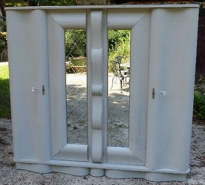 Painted Vintage Retro 4 Door Armoire Wardrobe, Amazing Shape, Mirrors, Flat Pack