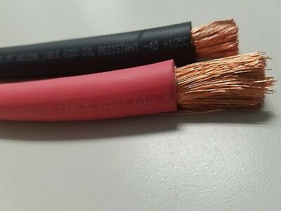 200' 1/0 Awg Welding Cable Wire  Copper Battery Solar Red 100' Feet Black 100'