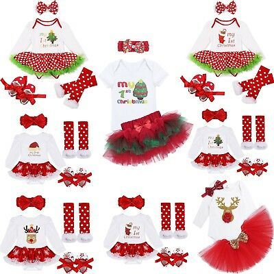 Infant Baby Girls My First Christmas Outfits Tutu Skirt Romper Headband Jumpsuit