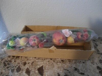 "Home Interiors Apple,Pomegranate,Flower Swag 15"" inches NIB"