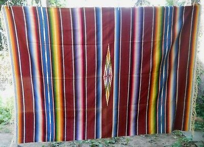 VTG Serape Saltillo Fringed MEXICAN BLANKET Wool Weaving Rug Multi wall hanging